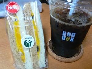 ドトールのコーヒーとサンドイッチ