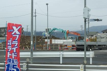 ミニストップ下米田町店から見える工事現場