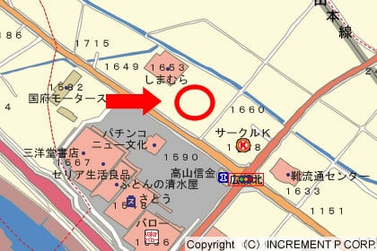 ゲンキー高山国府店の地図の写真