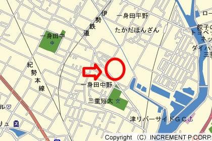 コスモス一身田店の地図の写真