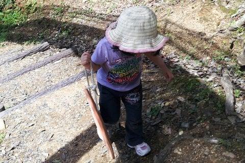可児やすらぎの森を登る娘の写真