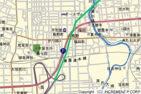 大野神戸IC→大垣西IC間のルートの写真