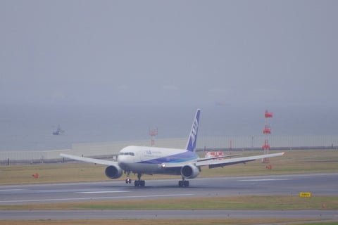 ANA機の着陸の写真