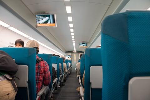 リニアの体験乗車の様子の写真