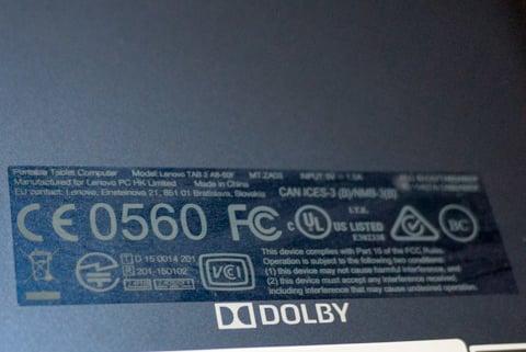 Lenovo Tab2 A8の技適の写真